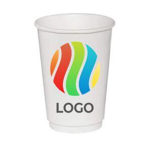 Стакан бумажный для горячих напитков двухслойный 400мл с ЛОГОТИПОМ