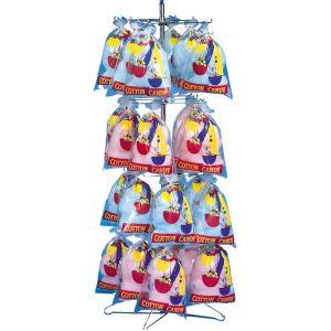 Стойка-витрина для пакетов с попкорном или сах.ватой, 340х390х1680мм, 4 яруса, 64 пакета, напольная, без вывески