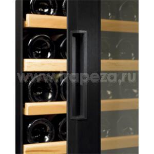 Шкаф холодильный д/вина, 154бут. (370л), 1 дверь стекло, 14 полок, ножки, +5/+18С, стат.охл.+вент., черный, 2 темп.зоны